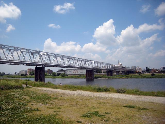 稲田堤付近からの多摩川の眺め