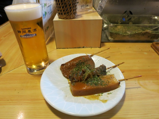 静岡麦酒とおでん3品