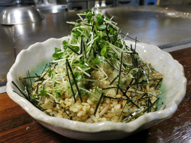 オクラと山芋の混ぜ焼きソバ(わさび風味) 1100円
