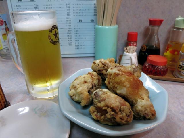 生ビールと八塊鶏(ザンギ)
