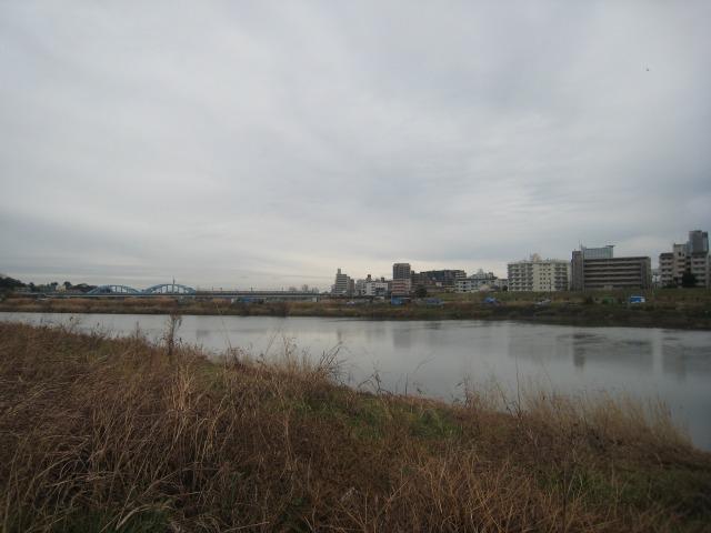多摩川 こちらは田園調布 対岸はブルーシート