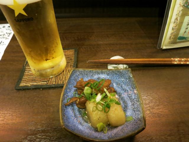 グラスビール(大)500円&お通し